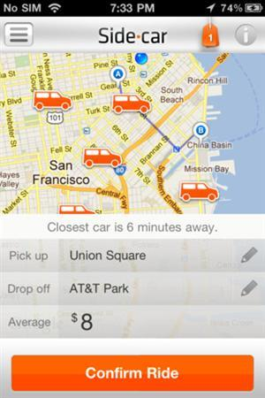 Screenshot of new on-demand ride-sharing app ''SideCar'', obtained on July 9, 2012. REUTERS/Handout