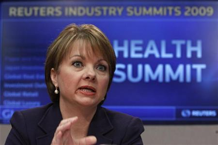 Angela Braly, president and chief executive officer of WellPoint Inc., speaks at the Reuters Health Summit in New York, November 9, 2009. REUTERS/Brendan McDermid
