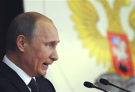 Russia's President Vladimir Putin addresses Russian ambassadors during their meeting at the Foreign Ministry headquarters in Moscow, July 9, 2012. REUTERS/Alexander Nemenov/Pool