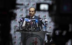 Mahmoud Jibril, head of the National Forces Alliance, talks during a news conference at his party's headquarters in Tripoli July 8, 2012. REUTERS/Zohra Bensemra