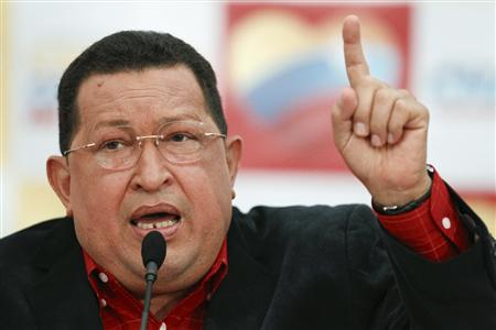 Venezuela's President Hugo Chavez speaks during a news conference in Caracas July 9, 2012. REUTERS/Carlos Garcia Rawlins