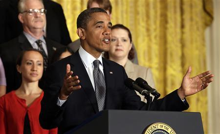 U.S. President Barack Obama speaks about the need for Congress to extend tax cuts for middle class families at the White House in Washington July 9, 2012. REUTERS/Kevin Lamarque