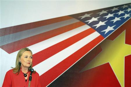 U.S. Secretary of State Hillary Clinton delivers a speech during a meeting with the business community in Hanoi July 10, 2012. REUTERS-Luong Thai Linh-Pool