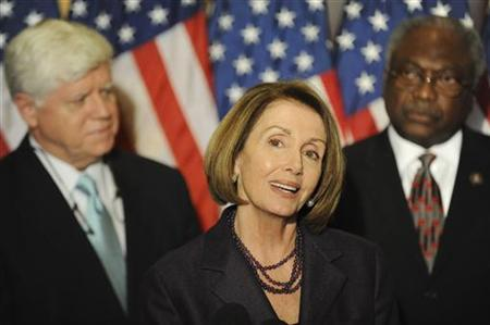 U.S. House Speaker Nancy Pelosi (D-CA) (C) is flanked by Rep. John Larson (D-CT) (L) and Rep. James Clyburn (D-SC) (R) as she holds a news conference after a Democratic Caucus meeting on Capitol Hill in Washington, November 17, 2010.REUTERS/Jonathan Ernst