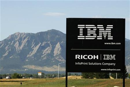 The sign at the IBM facility near Boulder, Colorado is seen with the Boulder Flatiron mountains in the background, September 8, 2009. REUTERS/Rick Wilking