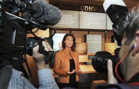 Melinda Gates speaks to the media at an advance tour of the newly constructed $15 million visitor center of the Bill and Melinda Gates Foundation $500 million campus in Seattle, Washington February 1, 2012. REUTERS/Anthony Bolante/Files