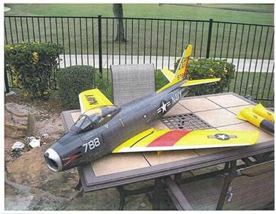 A scale model of a U.S. Navy F-86 Sabre fighter plane is seen in a handout photo released by the U.S. Justice Department after the photo was submitted to U.S. District Court in Massachusetts as part of a criminal complaint and affidavit filed by the Federal Bureau of Investigation in Boston, September 28, 2011. REUTERS/U.S. Department of Justice/Handout