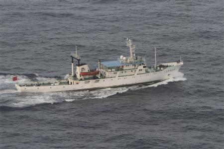 A Chinese fishery patrol ship sails near the disputed islands in the East China Sea, known as the Senkaku isles in Japan or Diaoyu in China, in this handout photo taken by the Japan Coast Guard July 11, 2012. REUTERS/11th Regional Coast Guard Headquarters-Japan Coast Guard/Handout
