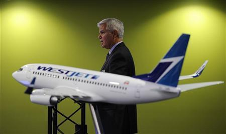 President and CEO of Westjet Gregg Saretsky addresses shareholders during the company's annual general meeting in Calgary, Alberta, May 1, 2012. REUTERS/Todd Korol