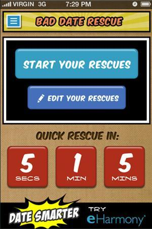 A screenshot of new app ''Bad Date Rescue'', launched by dating website eHarmony.com, is shown in this undated publicity image. REUTERS/Handout
