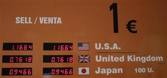 Вывеска пункта обмена валют в Мадриде, 9 сентября 2010 года. Евро близок к двухлетнему минимуму к доллару, так как рынок не ожидает скорого решения немецкого суда об активизации фонда помощи еврозоне. REUTERS/Juan Medina