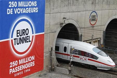 Deutsche Bahn ICE 3 high speed train leaves the Channel Tunnel during the preliminary tests in Coquelles, northern France, October 13, 2010. REUTERS/Pascal Rossignol