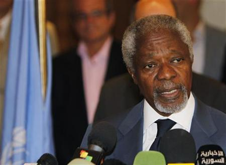 U.N. Syria peace envoy Kofi Annan speaks to the media at a hotel after returning from a meeting with Syrian President Bashar al-Assad in Damascus July 9, 2012. REUTERS/Khaled al-Hariri