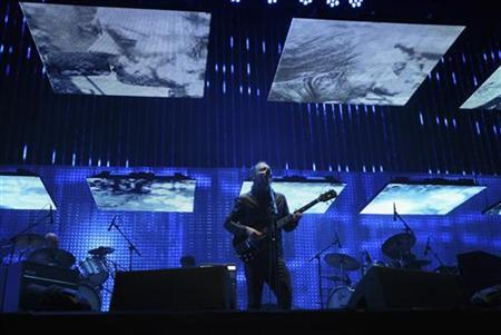 Thom Yorke performs with Radiohead at the Coachella Valley Music and Arts Festival in Indio, California April 14, 2012. REUTERS/David McNew