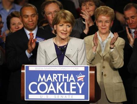 Democratic candidate for the U.S. Senate Martha Coakley concedes defeat in the special election to fill the Senate seat of the late Edward Kennedy in Boston, Massachusetts January 19, 2010. REUTERS/Brian Snyder