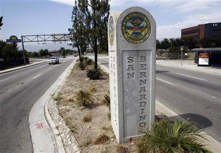 A concrete sign marking the city limits for San Bernardino, California is seen July 11, 2012. The city council of San Bernardino voted on Tuesday to file for bankruptcy, marking the third time in recent weeks a city in the most populous U.S. state has opted to seek protection from its creditors. REUTERS/Alex Gallardo