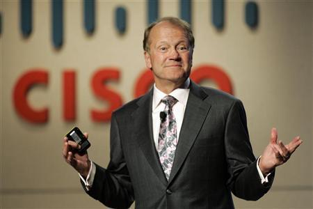 John Chambers, chief executive of Cisco Systems, speaks during a news conference at at the 2010 International Consumer Electronics Show (CES) in Las Vegas, Nevada January 6, 2010. REUTERS/Steve Marcus