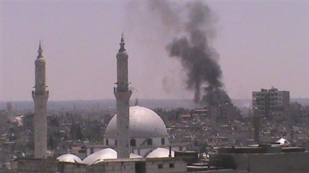 Smoke rises from Juret al-Shayah in Homs July 11, 2012. Picture taken July 11, 2012. REUTERS/Shaam News Network/Handout