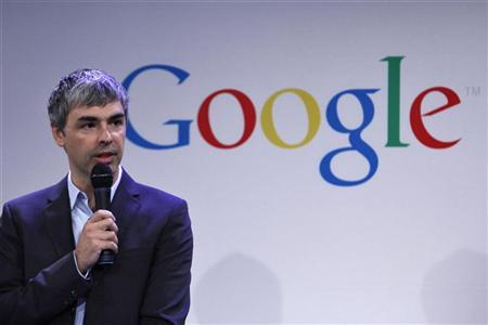 Google CEO Larry Page speaks during a press announcement at Google's headquarters in New York in this May 21, 2012 file photo. REUTERS/Eduardo Munoz