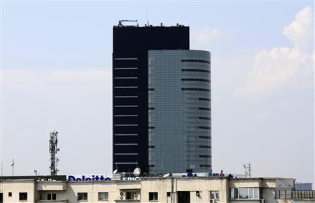 A view of the country's highest skyscraper, the 26-storey Bucharest Tower Center built by Avrig 35 Group, one of Romania's largest real estate development groups in 2007, in Bucharest July 12, 2012. REUTERS/Radu Sigheti