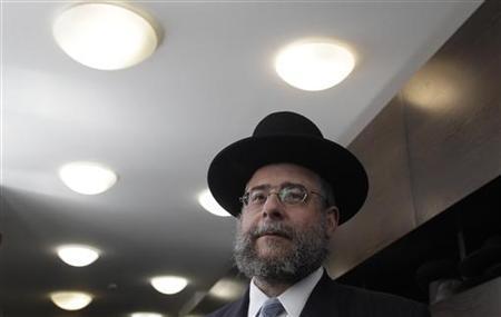 Head of the Conference of European Rabbis Pinchas Goldschmidt arrives for an international Rabbi meeting in Berlin July 10, 2012. REUTERS/Tobias Schwarz