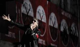 "Pink Floyd co-founder Roger Waters performs during his ""The Wall"" tour in Sao Paulo April 1, 2012. REUTERS/Nacho Doce"