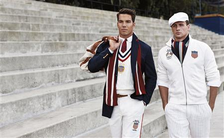 US Olympic athletes rower Giuseppe Lanzone (L) and swimmer Ryan Lochte are pictured wearing the 2012 US Olympic team uniforms, made by Ralph Lauren in this undated handout photo obtained by Reuters July 13, 2012. REUTERS/Ralph Lauren/Handout