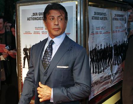U.S. actor Sylvester Stallone arrives at the German premiere of his movie ''The Expendables'' in Berlin, August 6, 2010. REUTERS/Thomas Peter