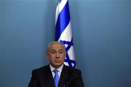 Israel's Prime Minister Benjamin Netanyahu is seen during a news conference at his Jerusalem office May 18, 2011. . REUTERS/Ronen Zvulun