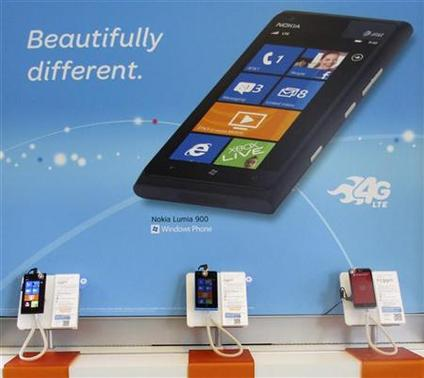 Nokia Lumia 900 cell phones are shown for sale in Carlsbad, California April 11, 2012. REUTERS/Mike Blake
