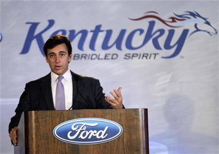 Ford Motor Company's Mark Fields, Ford's presidents of the Americas, addresses plant employees, guest and members of the media during a news conference to celebrate the start of production of Ford's new 2013 Ford Escape at the company's transformed Louisville Assembly Plant in Louisville, Kentucky, June 13, 2012. REUTERS/John Sommers II