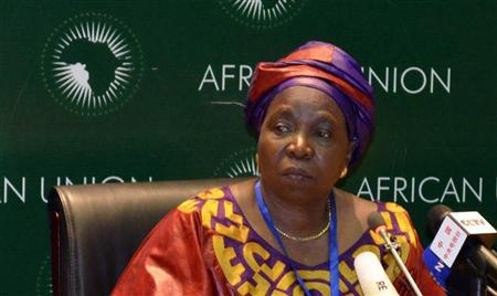 South African Home Affairs Minister Nkosazana Dlamini-Zuma addresses the media during the leaders meeting at the African Union (AU) in Addis Ababa July 15, 2012. REUTERS/Tiksa Negeri