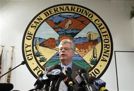 James Penman, city attorney general of San Bernardino, talks to the media at the city council chambers July 11, 2012. The city council of San Bernardino, California, voted on Tuesday to file for bankruptcy, marking the third time in recent weeks a city in the most populous U.S. state has opted to seek protection from its creditors. REUTERS/Alex Gallardo