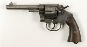 A Colt U. S. Army New Service Model 1909 revolver recovered from the body of Clyde Barrow after he and Bonnie Parker were killed by members of law enforcement on May 23, 1934, is pictured in this undated handout photo obtained by Reuters July 13, 2012. REUTERS/RR Auction/Handout