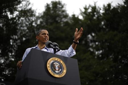 U.S. President Barack Obama speaks during a campaign rally in Glen Allen, Virginia, July 14, 2012. REUTERS/Jason Reed