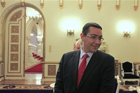 Romania's leftist Prime Minister Victor Ponta looks on before a meeting with interim President Crin Antonescu and the chairmans of both the lower and upper chambers of the parliament at the presidential palace in Bucharest June 16, 2012. REUTERS/Radu Sigheti