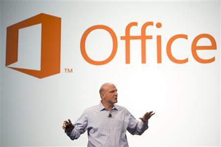 Microsoft CEO Steve Ballmer announces the customer preview of the new Microsoft Office in San Francisco, California July 16, 2012. REUTERS/Matthew Williams/Handout