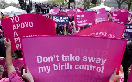 Members of Planned Parenthood, NARAL Pro-Choice America and more than 20 other organizations hold a ''Stand Up for Women's Health'' rally in supporting preventive health care and family planning services, including abortion in Washington in this April 7, 2011 file photo. REUTERS/Joshua Roberts/Files