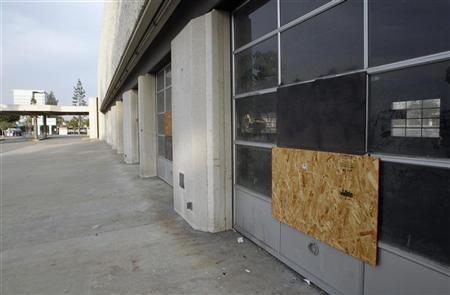 A boarded-up storefront on Fourth Street in San Bernardino July 11, 2012. REUTERS/Alex Gallardo