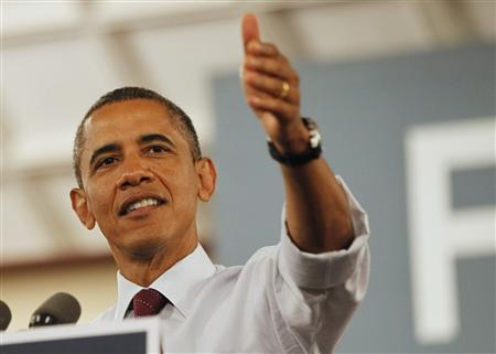 U.S. President Barack Obama speaks during an election campaign rally in Cincinnati July 16, 2012. REUTERS/Jason Reed