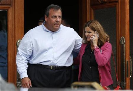 Governor of New Jersey Chris Christie and his wife Mary Pat Christie attend the Allen & Co Media Conference in Sun Valley, Idaho July 13, 2012. REUTERS/Jim Urquhart