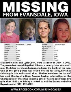 Elizabeth Collins, 8, and Lyric Cook, 10, (R) are pictured in this handout photo from Black Hawk County Sheriff, received by Reuters July 16, 2012. The girls were last seen by their grandmother on Friday when the two, who are cousins, left her home to go ride their bicycles, authorities said. REUTERS/Black Hawk County Sheriff/Handout