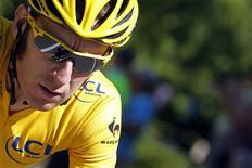 Sky Procycling rider and leader's yellow jersey Bradley Wiggins of Britain cycles during the 16th stage of the 99th Tour de France cycling race between Pau and Bagneres-de-Luchon, July 18, 2012. REUTERS/Bogdan Cristel