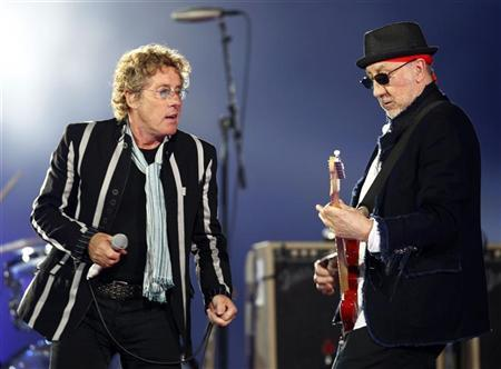 Roger Daltrey (L) and Pete Townshend of British rock band 'The Who' perform during the halftime show for the NFL's Super Bowl XLIV football game between the New Orleans Saints and the Indianapolis Colts in Miami, Florida February 7, 2010. REUTERS/Jeff Haynes