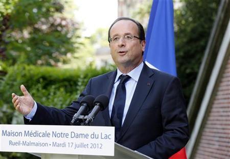 France's President Francois Hollande delivers a speech as part of a visit at the health care center ''Maison Medicale Notre Dame du Lac'' in Rueil-Malmaison, western Paris, July 17, 2012 . REUTERS/Pierre Verdy/Pool
