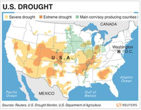 USA-DROUGHT/ - Map of the U.S. locating areas hits by drought. RNGS. (SIN03)