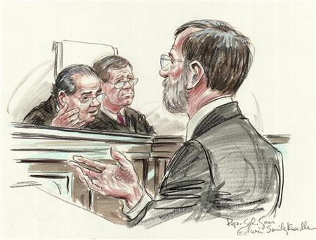 Deputy Solicitor General Edwin Kneedler (R) speaks to Justice Antonin Scalia (L) and Chief Justice John Roberts of the U.S. Supreme Court in Washington, in this courtroom illustration made March 28, 2012. REUTERS/Illustration by Art Lien/Handout