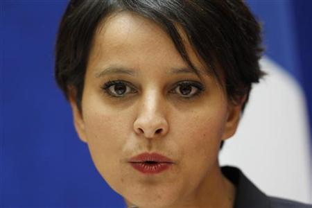 Najat Vallaud-Belkacem, France's newly appointed government spokesperson and Women's Rights Minister, attends a handover ceremony in Paris, May 17, 2012. REUTERS/Charles Platiau
