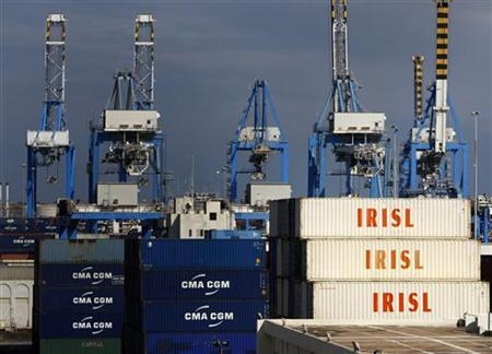 Empty and disused Islamic Republic of Iran Shipping Lines (IRISL Group) containers are seen at Malta Freeport in the Port of Marsaxlokk outside Valletta February 10, 2012. REUTERS/Darrin Zammit Lupi