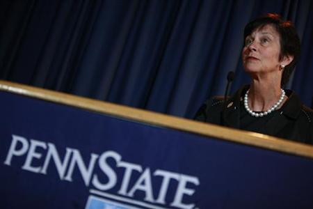Penn State university Board of Trustees chair Karen B. Peetz speaks during a news conference following a meeting on the school's Worthington Scranton campus in Dunmore, Pennsylvania July 13, 2012. REUTERS/Eric Thayer